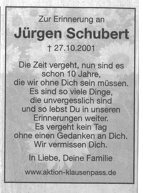 Erinnerungsanzeige in der Schwäbischen Zeitung